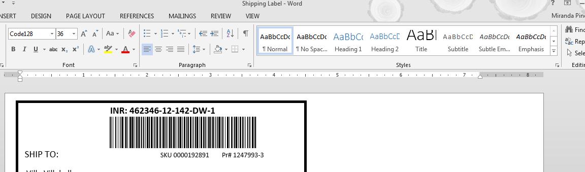 Code 128 barcodes in Word : Azalea Software