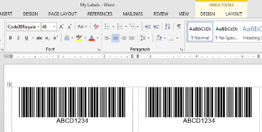 Code 39 barcodes in Word