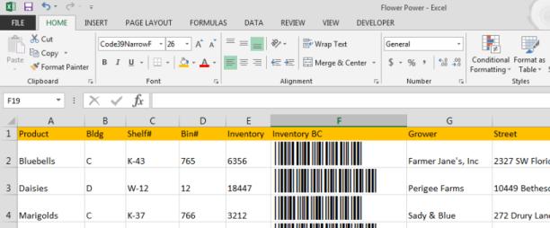 Code 39 barcodes in Word : Azalea Software