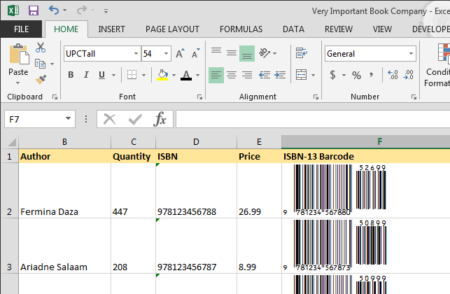 ISBN 13 barcodes in Excel