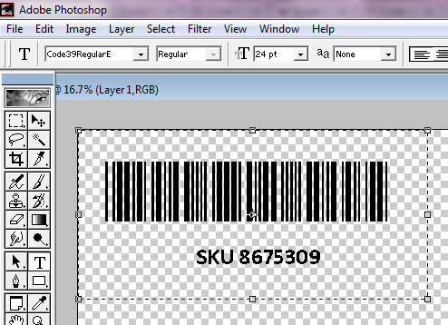 Code 39 barcode in Adobe Photoshop