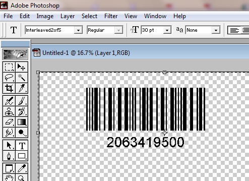 Interleaved 2 of 5 barcode in Adobe Photoshop