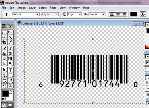 UPC barcode in Adobe Photoshop
