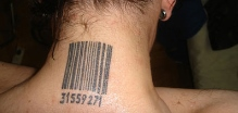 neck barcode tattoo