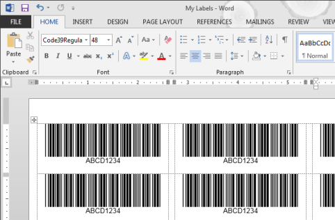 Code 39 barcode labels in Word