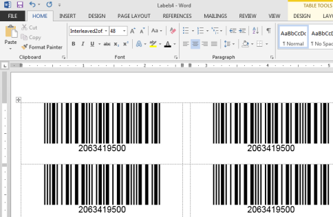 Interleaved 2 of 5 barcode labels in Word