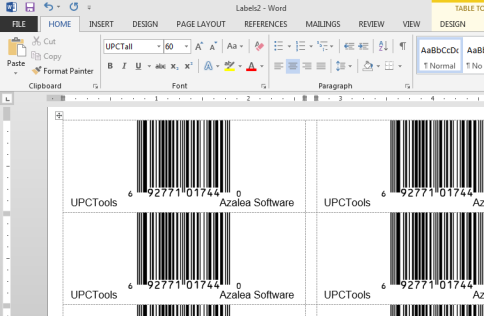UPC labels in Microsoft Word