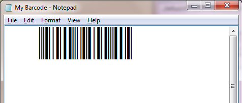 Interleaved 2 of 5 barcode in Notepad